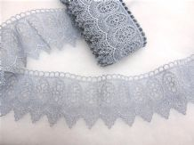 13.7mt Silver Blue Steel Guipure Lace 8cm  Wide Trimming  Decoration